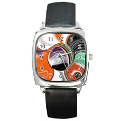Abstract Orb In Orange, Purple, Green, And Black Square Metal Watch