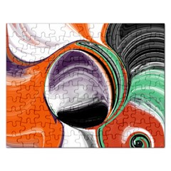 Abstract Orb in Orange, Purple, Green, and Black Rectangular Jigsaw Puzzl