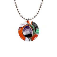 Abstract Orb In Orange, Purple, Green, And Black Button Necklaces