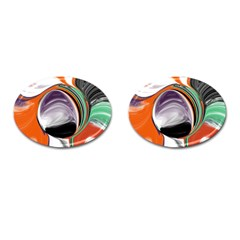 Abstract Orb in Orange, Purple, Green, and Black Cufflinks (Oval)
