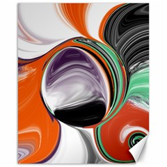 Abstract Orb in Orange, Purple, Green, and Black Canvas 16  x 20