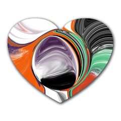 Abstract Orb In Orange, Purple, Green, And Black Heart Mousepads