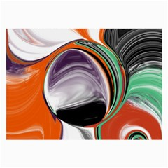 Abstract Orb in Orange, Purple, Green, and Black Large Glasses Cloth