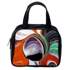 Abstract Orb in Orange, Purple, Green, and Black Classic Handbags (One Side)
