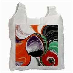 Abstract Orb In Orange, Purple, Green, And Black Recycle Bag (two Side)