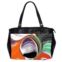 Abstract Orb In Orange, Purple, Green, And Black Office Handbags (2 Sides)