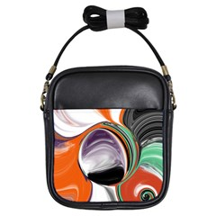 Abstract Orb in Orange, Purple, Green, and Black Girls Sling Bags