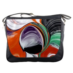 Abstract Orb in Orange, Purple, Green, and Black Messenger Bags