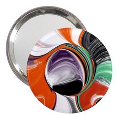 Abstract Orb In Orange, Purple, Green, And Black 3  Handbag Mirrors