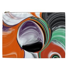 Abstract Orb In Orange, Purple, Green, And Black Cosmetic Bag (xxl)
