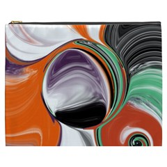 Abstract Orb in Orange, Purple, Green, and Black Cosmetic Bag (XXXL)