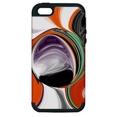 Abstract Orb in Orange, Purple, Green, and Black Apple iPhone 5 Hardshell Case (PC+Silicone)