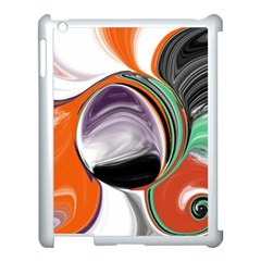 Abstract Orb in Orange, Purple, Green, and Black Apple iPad 3/4 Case (White)