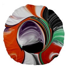Abstract Orb In Orange, Purple, Green, And Black Large 18  Premium Round Cushions