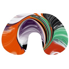 Abstract Orb in Orange, Purple, Green, and Black Travel Neck Pillows