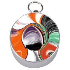 Abstract Orb in Orange, Purple, Green, and Black Silver Compasses