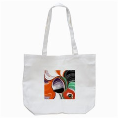 Abstract Orb In Orange, Purple, Green, And Black Tote Bag (white)
