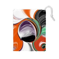 Abstract Orb in Orange, Purple, Green, and Black Drawstring Pouches (Large)