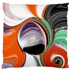 Abstract Orb In Orange, Purple, Green, And Black Large Flano Cushion Case (two Sides)