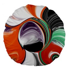 Abstract Orb in Orange, Purple, Green, and Black Large 18  Premium Flano Round Cushions
