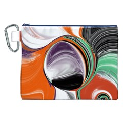 Abstract Orb in Orange, Purple, Green, and Black Canvas Cosmetic Bag (XXL)