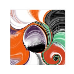Abstract Orb In Orange, Purple, Green, And Black Small Satin Scarf (square)