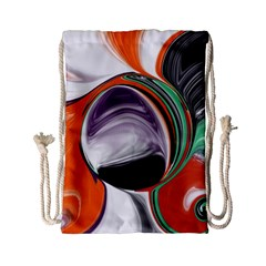 Abstract Orb in Orange, Purple, Green, and Black Drawstring Bag (Small)