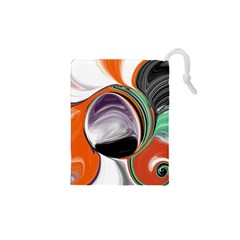 Abstract Orb In Orange, Purple, Green, And Black Drawstring Pouches (xs)