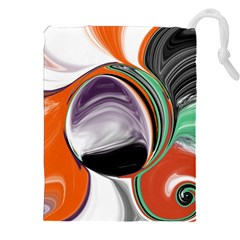 Abstract Orb In Orange, Purple, Green, And Black Drawstring Pouches (xxl)