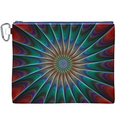 Fractal Peacock Rendering Canvas Cosmetic Bag (XXXL)