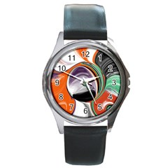 Abstract Orb In Orange, Purple, Green, And Black Round Metal Watch