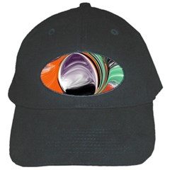 Abstract Orb In Orange, Purple, Green, And Black Black Cap