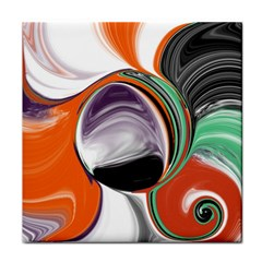 Abstract Orb In Orange, Purple, Green, And Black Tile Coasters