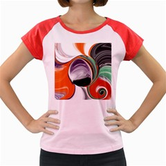 Abstract Orb in Orange, Purple, Green, and Black Women s Cap Sleeve T-Shirt