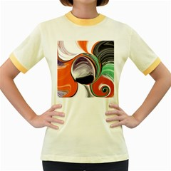 Abstract Orb In Orange, Purple, Green, And Black Women s Fitted Ringer T Shirts