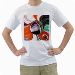 Abstract Orb In Orange, Purple, Green, And Black Men s T Shirt (white) (two Sided)