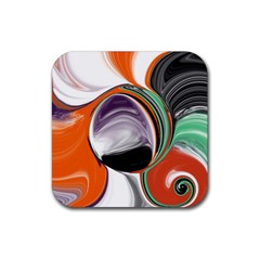Abstract Orb in Orange, Purple, Green, and Black Rubber Square Coaster (4 pack)
