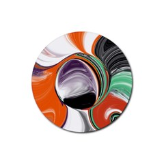 Abstract Orb in Orange, Purple, Green, and Black Rubber Round Coaster (4 pack)