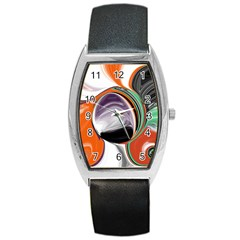 Abstract Orb in Orange, Purple, Green, and Black Barrel Style Metal Watch