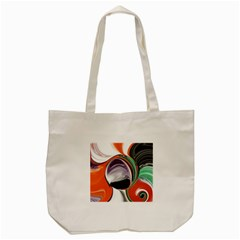 Abstract Orb in Orange, Purple, Green, and Black Tote Bag (Cream)