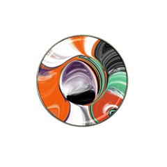 Abstract Orb In Orange, Purple, Green, And Black Hat Clip Ball Marker