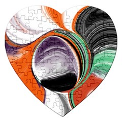 Abstract Orb In Orange, Purple, Green, And Black Jigsaw Puzzle (heart)
