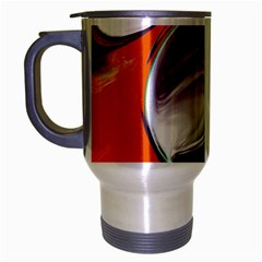 Abstract Orb In Orange, Purple, Green, And Black Travel Mug (silver Gray)