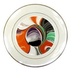 Abstract Orb In Orange, Purple, Green, And Black Porcelain Plates