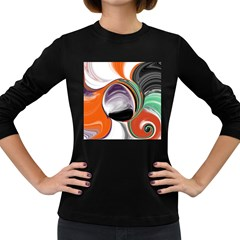 Abstract Orb In Orange, Purple, Green, And Black Women s Long Sleeve Dark T Shirts