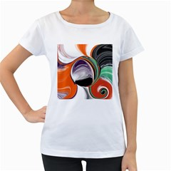 Abstract Orb In Orange, Purple, Green, And Black Women s Loose Fit T Shirt (white)