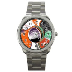 Abstract Orb in Orange, Purple, Green, and Black Sport Metal Watch
