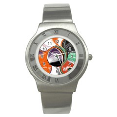 Abstract Orb in Orange, Purple, Green, and Black Stainless Steel Watch