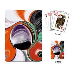 Abstract Orb in Orange, Purple, Green, and Black Playing Card