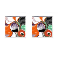 Abstract Orb in Orange, Purple, Green, and Black Cufflinks (Square)